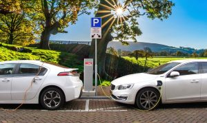 electric vehicle parked and charging